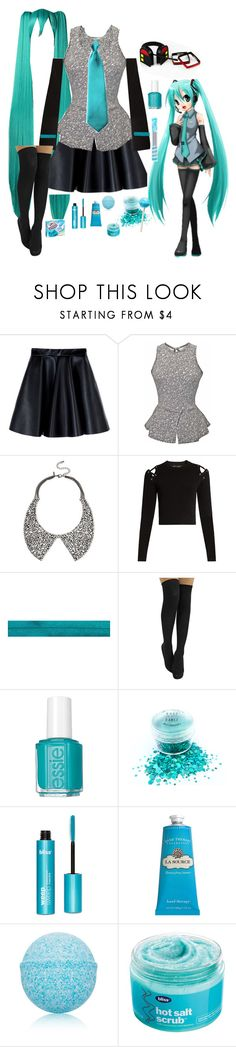 """Miku cosplay"" by citykitty1234 ❤ liked on Polyvore featuring MSGM, INC International Concepts, Proenza Schouler, Essie, Crabtree & Evelyn, Advanced Body Care by ME Bath and Bliss"