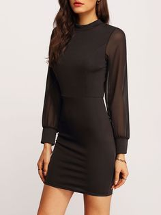 Black Stand Collar Backless Bodycon Dress