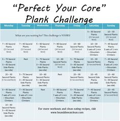 Take the Perfect Your Core Plank Challenge and find those abs you have been wanting to see!! For more FREE monthly exercise challenges visit www.heandsheeatcl....