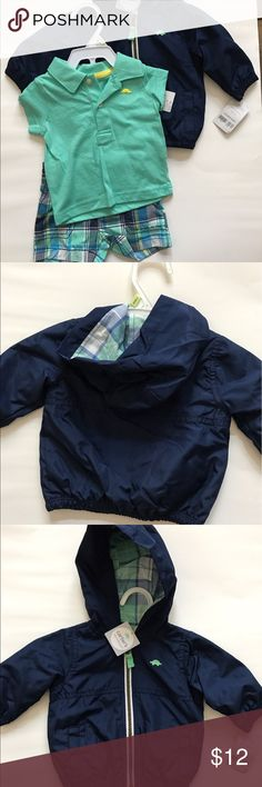 NWT Carter's matching short outfit & light jacket NWT Carter's short outfit with matching light jacket. In size 3 months. The jacket is 100% polyester and there is body and sleeve lining. Carter's Matching Sets