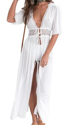 ecddf1bcb707f Women Beach Cover-up Bikini Swimsuit Dress Swimwear Cover Up Beach Wear -  B-off White - CV18CMUO46K