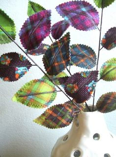 Love the fabric scrap leaves. Good way to make a quilt work with a room.  Sweet Leaves - Woodland Owl Fabric Branches (set of 3) Owl Fabric, Fabric Art, Fabric Scraps, Scrap Fabric, Tartan Fabric, Sewing Projects, Sewing Crafts, Diy Crafts, Diy Flowers