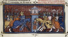 An alliance of Flemish, English and German troops seeks to defeat the French troops at the Battle of Bouvines (British Library, Royal 16G VI, BC. 360r)