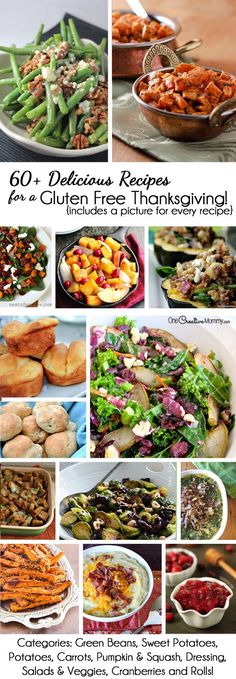 60+ Delicious Recipes for a Gluten Free Thanksgiving or Christmas {OneCreativeMommy.com} Arranged by category with a photo for every recipe! Plan your meal today.