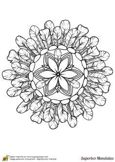 "Coloriage d'un superbe mandala avec des plumes d'indien en cercle - Hugolescargot.com | free sample | Join fb grown-up coloring group: ""I Like to Color! How 'Bout You?"" https://m.facebook.com/groups/1639475759652439/?ref=ts&fref=ts"