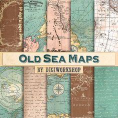 "Vintage maps digital paper ""Old Sea Maps"" #vintage #antique #marine #sea #scrapbooking #map"