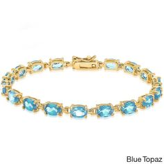 Dolce Giavonna 14k Gold-over-Sterling Silver Gemstone Tennis Style Bracelet (Blue topaz), Women's, Size: 7.25 Inch, Gold