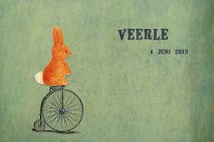 Geboortekaartje jongen of meisje - konijntje op de fiets - Pimpelpluis https://www.facebook.com/pages/Pimpelpluis/188675421305550?ref=hl (# tekening - handgetekend - konijn - dieren - fiets - vintage - retro - origineel)