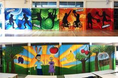 School Gym and Canteen Business Mural. (Exercise and Healthy Eating Theme). Hand Painted with Spray Paint by Jordan Lauder (Swag Art Murals and Graffiti).  swagart@live.com   07983874057   www.swagart.co.uk   https://www.facebook.com/SwagArtMurals/