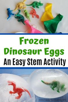 DIY Science Activities for Kids with Dinosaurs Frozen in Ice. Kids will love discovering frozen dinosaurs eggs in this fun & easy science experiment at home At Home Science Experiments, Snow Activities, Dinosaur Activities, Winter Activities For Kids, Science Activities For Kids, Preschool Activities, Easy Science, Dinosaur Snacks, Dinosaurs Preschool