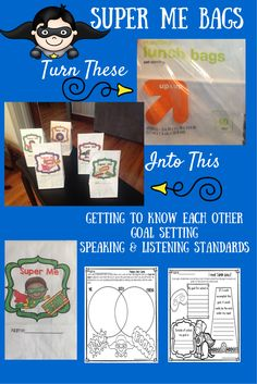 """$ How cool is this??? Print directly on the bag! Super Me activities and printables are a new twist on traditional """"All About Me"""" units. *Images of superhero are copyrighted by Pink Cat Studios.*"""