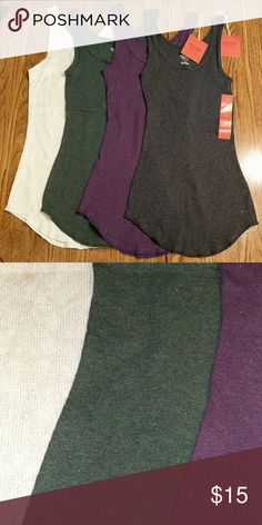 Mossimo sparkle round hem tank bundle NWT.  Charcoal gray, purple and olive green are ribbed with metallic gold fibers. The cream is a waffle knit with metallic gold print. Mossimo Supply Co. Tops Tank Tops