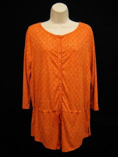 Lauren RALPH LAUREN Women Orange Print Drawstring Tunic Peasant Top Blouse M NEW #LaurenRalphLauren #KnitTop #Casual