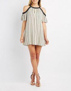 f24ce49de36d Crochet-Trim Striped Cold Shoulder Shift Dress Shoulder Cut