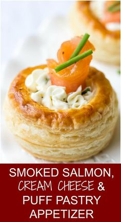 Do you love Smoked Salmon appetizers? Try these scrumptious Vol Au Vents traditional French recipe that is perfect for Christmas appetizer or Thanksgiving appetizer. lavenderandmacarons creamcheese puffpastry smokedsalmonrecipes Christmasappetizers Thank French Appetizers, Puff Pastry Appetizers, Puff Pastry Recipes, Christmas Appetizers, Puff Pastries, Christmas Recipes, Easy Thanksgiving Appetizers, Christmas Snacks, Easy Appetizer Recipes
