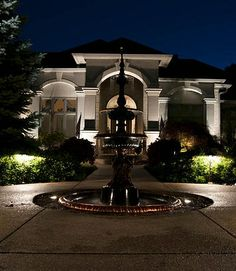 Outdoor Lighting of Home-front with Fountain by Lite-4 @ Green Outdoor Lighting