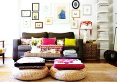 poufs and pillows -- the right size for humans, not dogs!