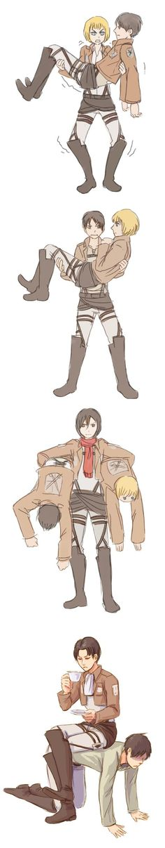 Attack on Titan ~ Strength training by oranges-lemons. Armin's like, 'I got you Eren' and Eren's like 'No you don't. Your going to drop me. Let me carry you.'. Then Mikasa comes in and is like 'You two are light, let's go.' And finally, Levi isn't having any of that carrying crap, he's just going to torture Eren.
