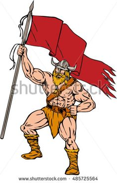 Illustration of a norseman viking warrior raider barbarian wearing horned helmet with beard holding brandishing red flag viewed from front set on isolated white background done in retro style. #viking #cartoon #illustration