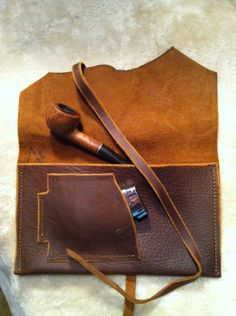 "Legendary Saxon Rugged Leather Tobacco Pouch 5"" X 8"" Tan Color on Etsy, $44.00"