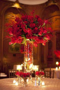 Centre de table rouge pour un mariage !