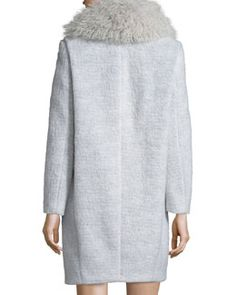 TAY4X Elizabeth and James Iris Oversized Fur-Collar Long Coat, Purple/Gray