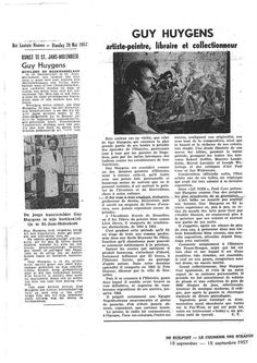 Het Laatste Nieuws : Guy Huygens Schilder door Jan Walravens (28.05.1957)