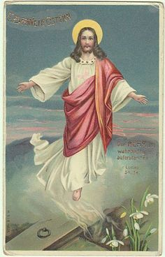 Vintage postcard from 1903 ( lithograph with glossy surface ), depicting Jesus Christ arising from his grave, snow drops are in front of the grave. Description from rubylane.com. I searched for this on bing.com/images