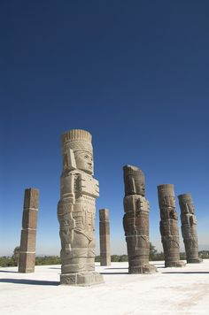 Mexico, Archaelogical Zone of Tula (Toltec Ruins), Temple of Quetzalcoatl, Atlantes warrior statues.