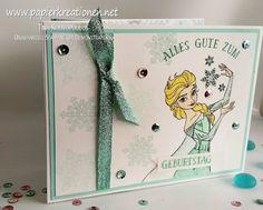 Papierkreationen.net: Frozen Geburtstagskarte mit Elsa (und Olaf): Treppenkarte mit Produkten von Stampin' Up!