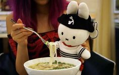 Pirate Miffy the bunny stuffed toy! In Hanoi eating pho vietnamese noodle soup! More cute VIetnam photos at http://www.lacarmina.com/blog/2016/05/vietnam-tattoo-parlors-buddhist-temple-pagoda/
