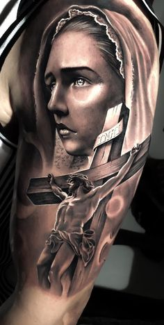 Trendiest Body Tattoos Designs You Should Try - DarlingNaija Jesus Tattoo Design, Body Tattoo Design, Angel Tattoo Designs, Jesus Tattoo Sleeve, Religious Tattoo Sleeves, Sleeve Tattoos, Skull Tattoos, Life Tattoos, Body Art Tattoos