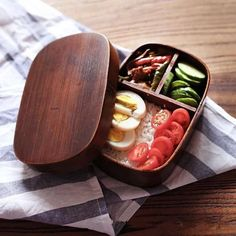 Urijk Wooden Lunchbox Handmade Japanese Style Sushi Bento Lunch Outdoor Picnic Kid School Dinnerware Bowl Food Container Box