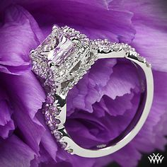 Custom 4 Prong Cushion Halo Diamond Engagement Ring by WFDiamonds, via Flickr