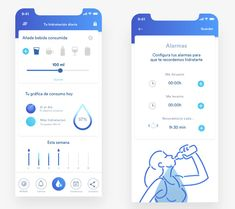 Water remainder, app by Sara Miguel del Amo - Design App Design Inspiration, Wallpaper Inspiration, Mobile App Design, Mobile App Ui, Material Design, Application Ui Design, Mobile Application, App Store, Conception D'applications