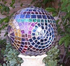 GardenDivaDeb's Mosaic gazing ball.  I so want one of these!!!!