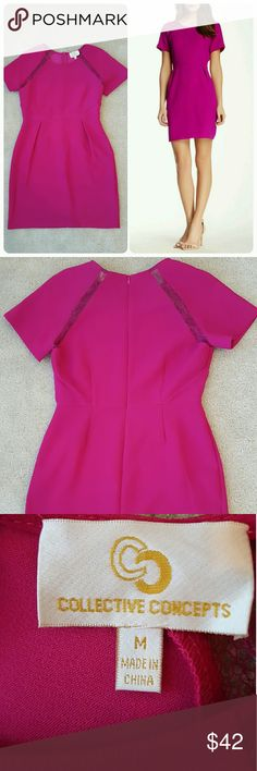 NWOT Collective Concepts Short Sleeve Dress Sheath dress with lace trim on sleeves. Zip back. Took the tag off but has not been worn. Orchid pink/purple color. Collective Concepts Dresses