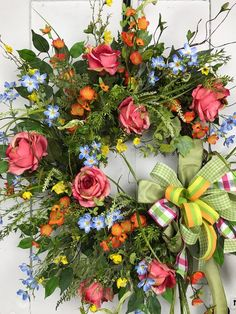 Large Flower Garden Wreath, Summer Wreath, Country Rose Garden Wreath, Every day Wreath, Rose Wreath. This large colorful Flower Garden Wreath Is packed full of beautiful Spring and Summer flowers as an Elegant Wreath or Every day wreath. The beautiful orange and yellow cherry