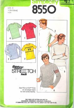 """Vintage 1978 Simplicity 8550 Men's T-Shirt Stretch Knit Sewing Pattern Size O Chest 40"""" - 42"""" - 44"""" UNCUT by Recycledelic1 on Etsy"""