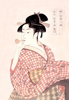 Woman Playing a Poppin, by Utamaro