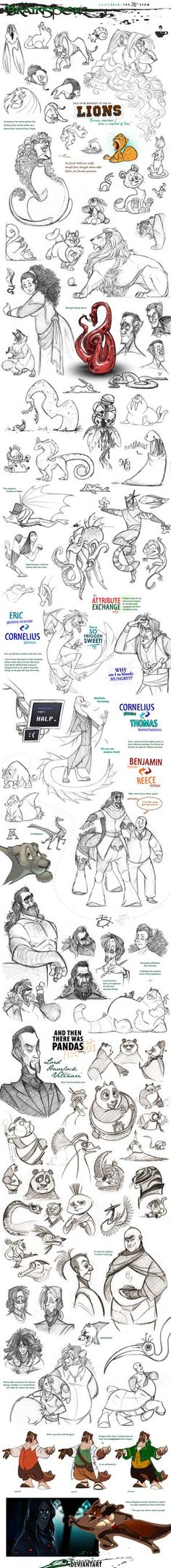 BrainSpew the by PookaDoodle on DeviantArt Cartoon Sketches, Animal Sketches, Animal Drawings, Drawing Sketches, Art Drawings, Arte Popular, Character Design References, Art Studies, Character Design Inspiration