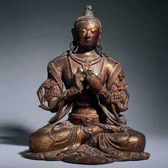bodhisattva | Lacquered clay Buddhist figure of the Bodhisattva Maitreya