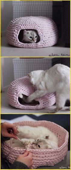 Crochet Round Cat Nest House Free Pattern - Crochet Cat House Patterns