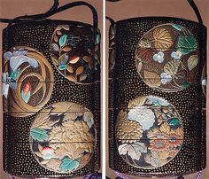Case (Inrō) with Design of Flowers in Circular Panels. Edo period (1615–1868) Date: 19th century