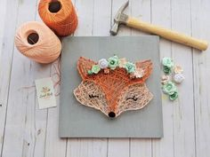 Orange fox with floral crown woodland string art wall decor String Wall Art, Nail String Art, Hilograma Ideas, Art Fox, Diy And Crafts, Arts And Crafts, String Art Patterns, Floral Crown, Diy Art