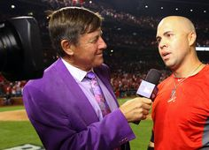 Craig Sager interviews Carlos Beltran following the St. Louis Cardinals win over the Los Angeles Dodgers in Game One of the National League Championship Series on Oct. 11, 2013 at Busch Stadium in St Louis....photo by Dilip Vishwanat/Getty Images