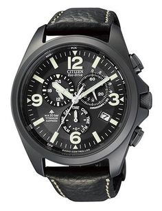 Citizen Promaster Herren-Armbanduhr Cronograph Leder Schwarz AS4035-04E | Your #1 Source for Watches and Accessories