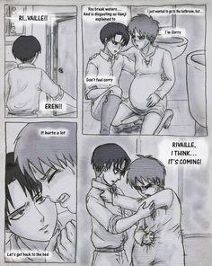 Shingeki no kyojin erenxlevi mpreg 5 Ereri, Birth Manga, Mpreg Stories, Anime Pregnant, Mpreg Anime, Anime Family, Lucci, Levi X Eren, Baby Birth