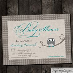 93 best perfect owl theme baby shower images on pinterest baby baby shower invitation vintage owl grey teal blue girl boy twins filmwisefo