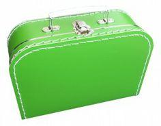 Koffertje ' zo groen als gras '   25 cm breed x 18 cm hoog x 9 cm diep